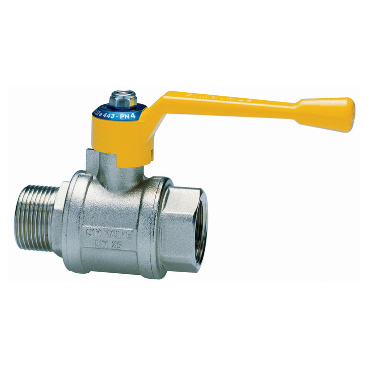 Male/female ball valves for gas