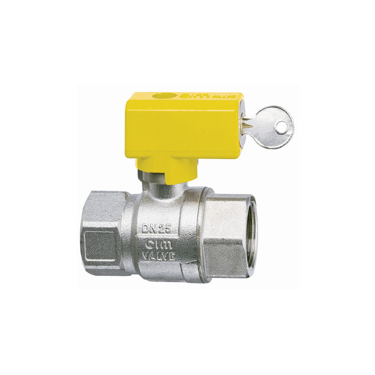 Gas ball valves with safety handle