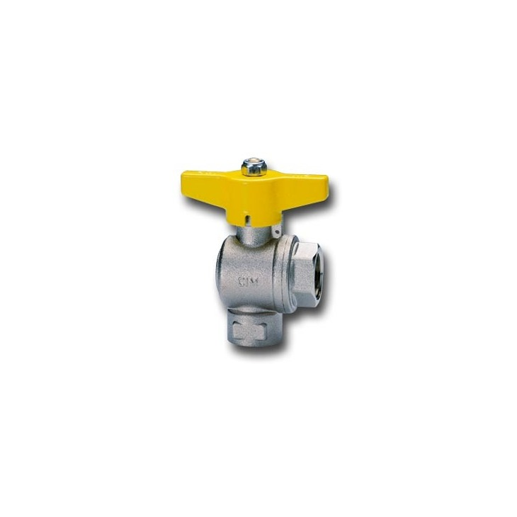 Right angle ball valves for gas